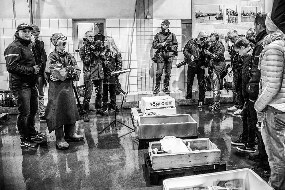 mycket människor på göteborgs fiskauktion, hummerpremiär, media, fotografer står runt hummerlådorna på det blöta golvet